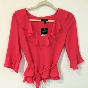 Top Shop Hot pink v neck ruffle peplum Shirt